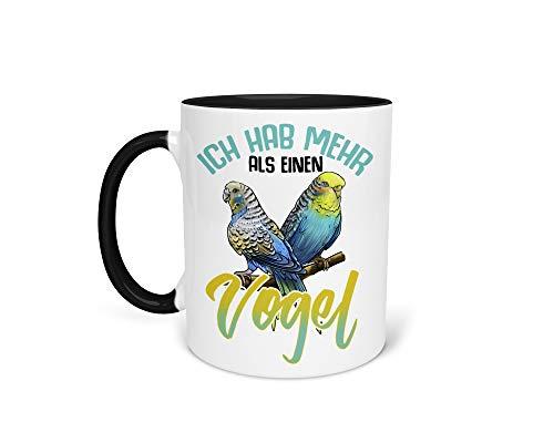 Tasse Kaffeetasse mit Wellensittich Spruch - Beidseitiger Druck - Wellis Vogelbesitzer