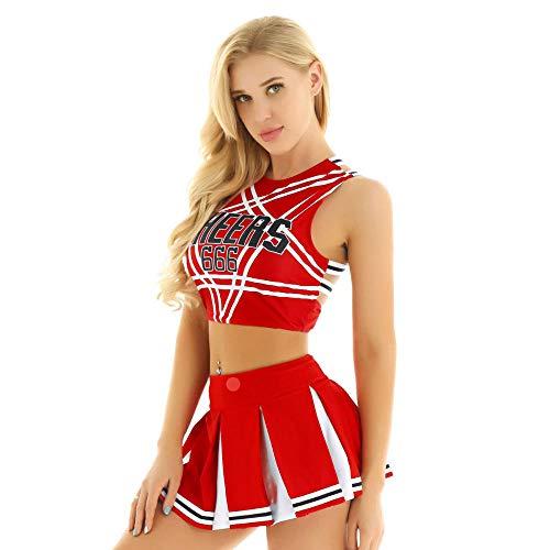 lenceria de cuero sexyConjunto de disfraz de mini falda plisada de animadora adulta para mujer Sexy Japón/coreana School Girls Cosplay Uniformes Halloween Fancy Clothing-Red_S