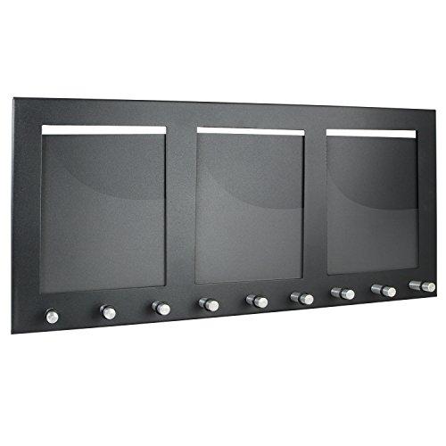 HMF 10850-02 Schlüsselbrett Schlüsselboard mit 3 Fotorahmen, 9 Schlüssel, 44,0 x 20,0 x 1,0 cm , schwarz