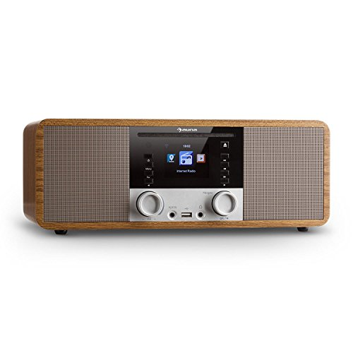 auna IR-190WD Radio Internet - Radio numérique, Radio WLAN, Lecteur réseau, Bluetooth, Port USB MP3, AUX, minuterie, Affichage Couleur 2,8 Pouces TFT, intensité Variable, Noisette