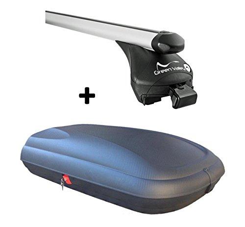 Dachbox VDPCA320 320Ltr carbonlook + Relingträger Alu kompatibel mit Ford Focus Turnier DAW 04-11
