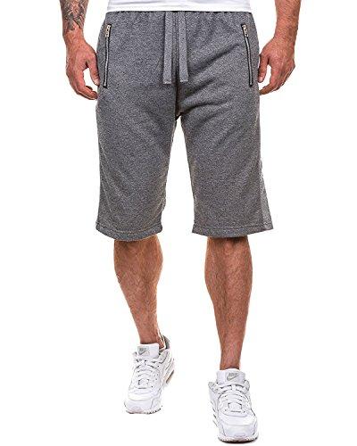 MODCHOK Herren Shorts Kurze Hose Jogging-Hose Sport Shorts Freizeit Shorts Sweat-Shorts Bermudas 4 Dunkelgrau S