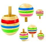Mengger Trottola in Legno Mini Giroscopio Colorati Artigianali Set per Bambini Giocattolo Partito Geschenk 6 Pezzi trottole