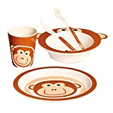 Bino 60007 Tableware for Toddlers with Brown Monkey Design. Includes Plate, Bowl, Cup and Bamboo Cutlery Ideal Non Breakable Dinner Set for Kids