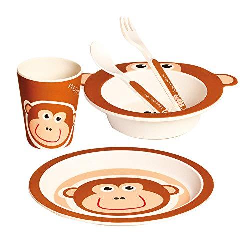 Mertens Kindergeschirr Set Affe Kinderspielzeug aus Bambus Spielzeug für Kinder ab 12 Monate (5-Teilig, Spülmaschinengeeignet, inkl.: Teller, Schüsselchen, Becher und Besteck), Braun