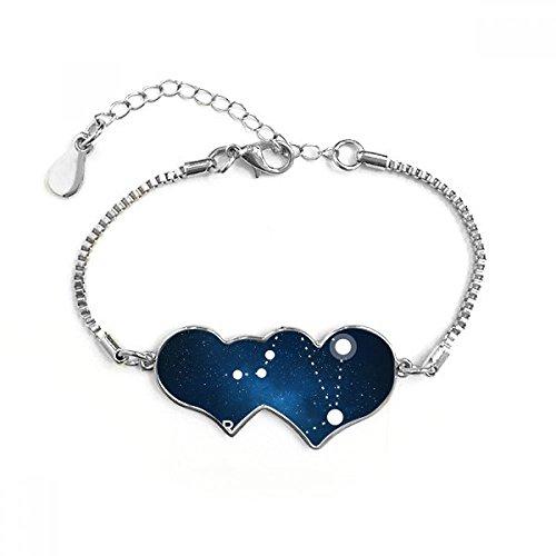 DIYthinker Weegschaal sterrenbeeld sterrenbeeld sterrenbeeld dubbele harten vorm rond-gesneden kubieke ketting armband liefde geschenken
