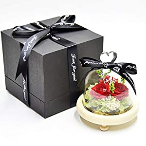 WANGWUS Roses Preserved LED Light Flower Wither not Flower Gift Sympathy Graduation Gift Gift Box