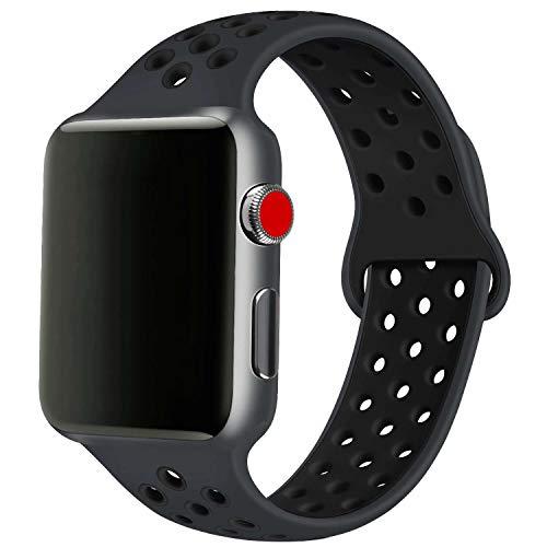 SSEIHI Armband Kompatibel mit Apple Watch 38mm 40mm,weiches Silikon Sport Ersatzband für Armband für iWatch Serie 5/4/3/2/1,Sport, atmungsaktiv, wasserdicht,S/M,Black Black