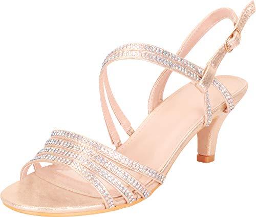 Cambridge Select Women's Open Toe Strappy Crystal Rhinestone Mid Kitten Heel Sandal,8 B(M) US,Champagne