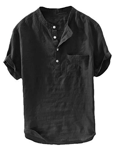 Herren Leinenhemd Kurzarm Hemd Sommerhemd Fischerhemd Baumwolle Stehkragen Freizeit Henley T Shirts, Schwarz, L