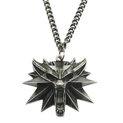 SGHGR Witcher 3 Wizard Game Medal Alliage Ornement Animal TêTe De Loup Collier Pendentif