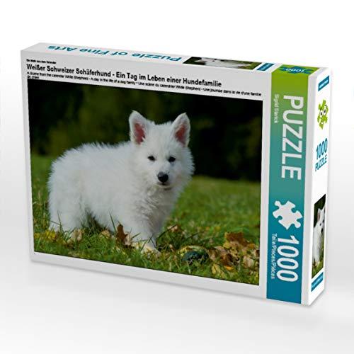 CALVENDO Puzzle Weißer Schweizer Schäferhund - EIN Tag im Leben Einer Hundefamilie 1000 Teile Lege-Größe 64 x 48 cm Foto-Puzzle Bild von Sista-Tierfoto