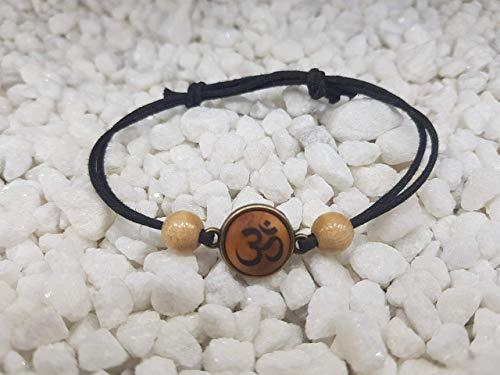 SOULSLICES Armband OM Symbol AUM OHM mit Holzperlen - Strandschmuck - Naturschmuck - Schlicht - Armband - Armreif - Bracelet - Herren & Damen Armband - Boho - Yoga - Vegan - Hippie