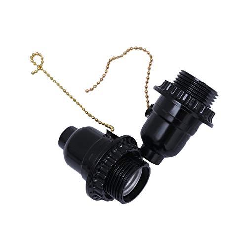 OSALADI - 1 x E27 casquillos de lámpara con base de salida adaptador para tirar de la cadena del interruptor (negro), plástico y metal, Negro, 2 unidades, E27
