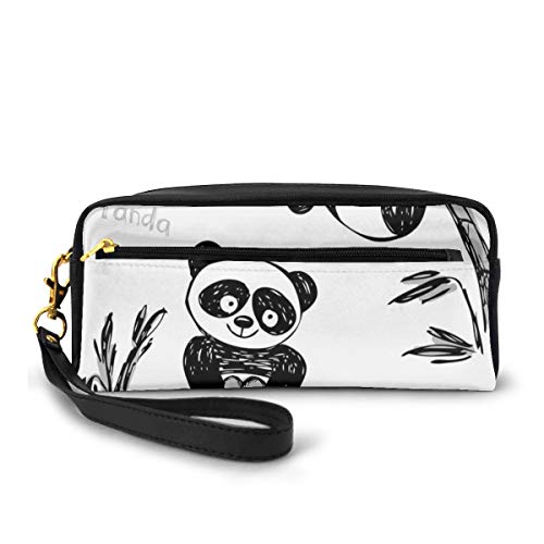Pencil Case Pen Bag Pouch Stationary,Cheerful Panda Different Poses with Bamboo Branch Children Painting Art Print,Small Makeup Bag Coin Purse