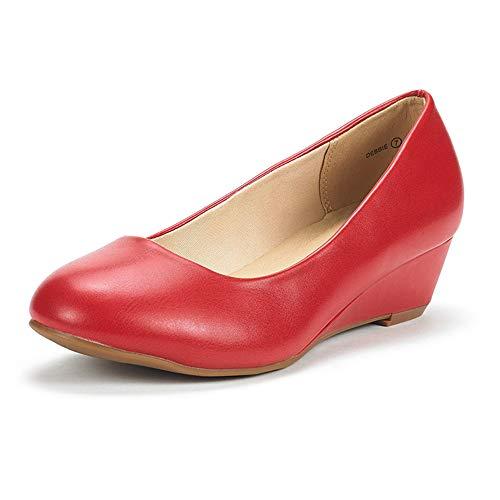 DREAM PAIRS Women's Debbie Red Pu Mid Wedge Heel Pump Shoes - 8.5 M US