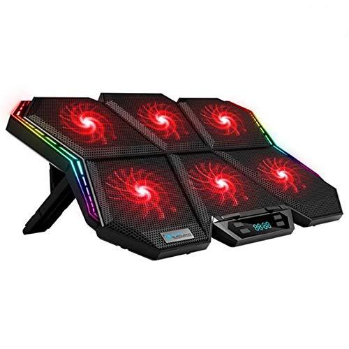 anruo Gaming portátil radiador ajustable RGB portátil almohadilla de refrigeración seis ventiladores 2600RPM soporte para portátil de 17 pulgadas portátil