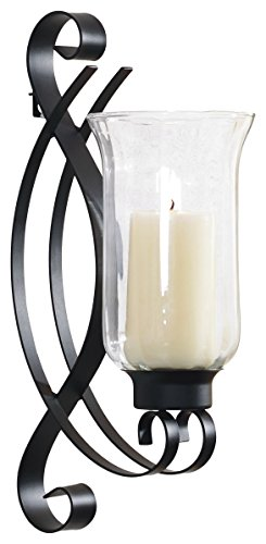 Art Maison Swirl Metal with Glass Candle Sconce, 4.5x8x14, Black