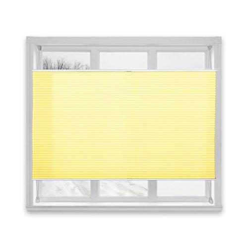 casa pura® Plissee Rollo   mit eleganter Crushed Optik   Klemmfix ohne Bohren   lichtdurchlässig & blickdicht   gelb   8 Größen (55x200cm) - 3