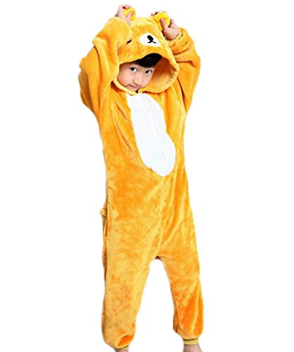 Ovender® Kigurumi Pigiami Animali Unisex Bambina Bambino Bambini Costume Carnevale Halloween Cosplay Unicorno Stitch Gufo Zebra Giraffa Mucca Festa Party Onesies (L/Altezza 135-145cm, Orsetto)