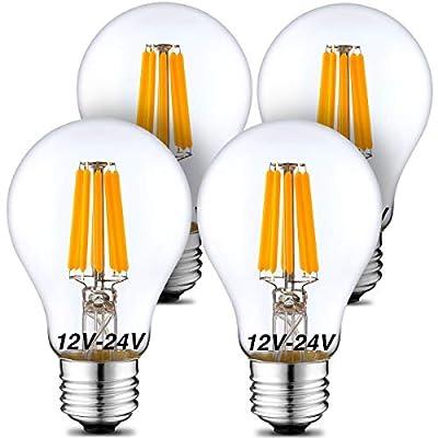 12 Volt Light Bulb 12V-24V LED Light Bulb A19 Low Voltage Light Bulbs 6W 570lm E26 2700K Warm White 12V LED Bulb (50Watt Equivalent) RV Camper Marine, Solar Battery System Lighting 24V Light Bulb