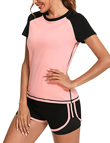 Wayleb Conjunto Chandal Mujer Completo Verano Conjuntos Deportivos para Mujer Conjuntos 2 Pieces Set Camiseta y Pantalones Cortos Traje Deportivo de Manga Corta