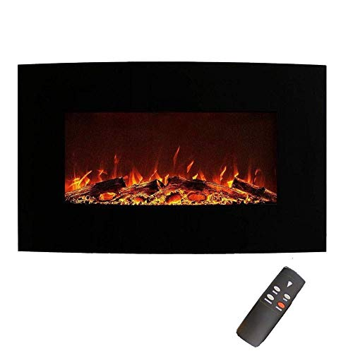 CHUTD Freestanding Electric Fire Electric Fireplace Heater 750W/1500W Two Files with Remote Control Realistic Flame Effect Adjustable Thermostat Black Wall-Mounted Freestanding Electric Fireplace