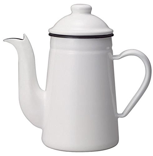Kalita Emaille Pot Ketel Koffie Tatsujin Pelikaan 1l Wit