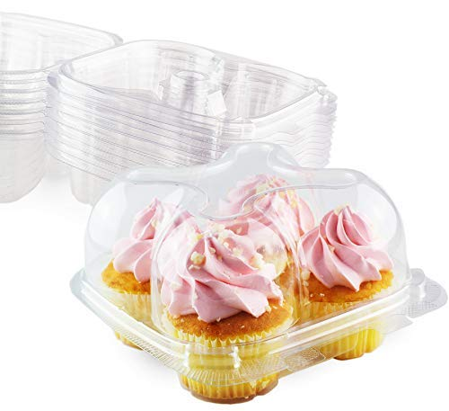 Chefible 4 Cupcake Container - Set of 12 | Four Cavity Plastic Disposable Cupcake Box, High Dome, Extra Sturdy and Stackable!