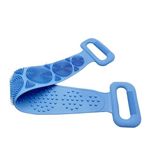 TOPBATHY Körper Bürste Silikon Rückenschrubber Körperwäscher Gürtel Doppelseitige Dusche Peeling Gürtel Tiefreinigen Body Scrubber Reinigungswerkzeuge für Bad Dusche Spa (Blau)