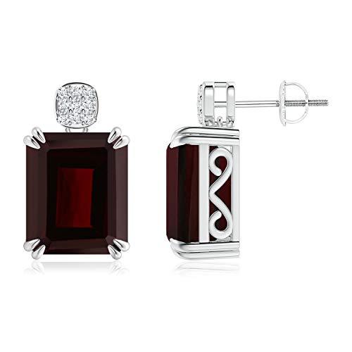 Enero de piedra natal–Tornillo espalda cóctel Esmeralda Corte Granate Pendientes para las mujeres con diamond cluster