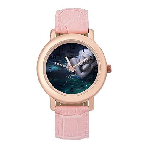 Sirena ArielLadies cinturón de cuero reloj de cuarzo 2266 espejo de cristal redondo rosa accesorios casuales moda temperamento 1.5 pulgadas
