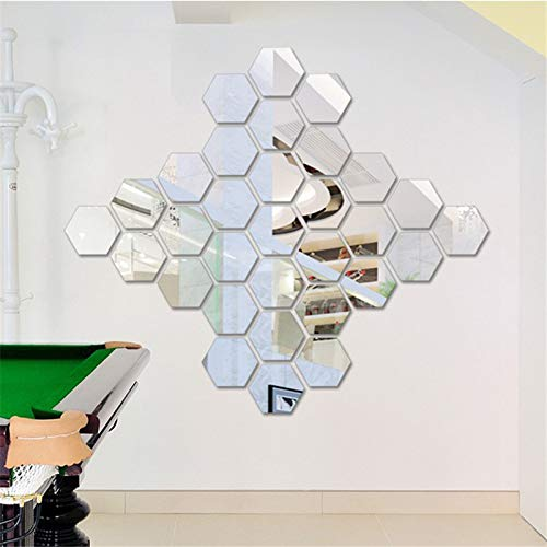 Gebuter 12pcs 3D Mirror Wall Sticker Hexagon Self-Adhesive Removable DIY Decal Art Ornaments for Home Living-Room Decor