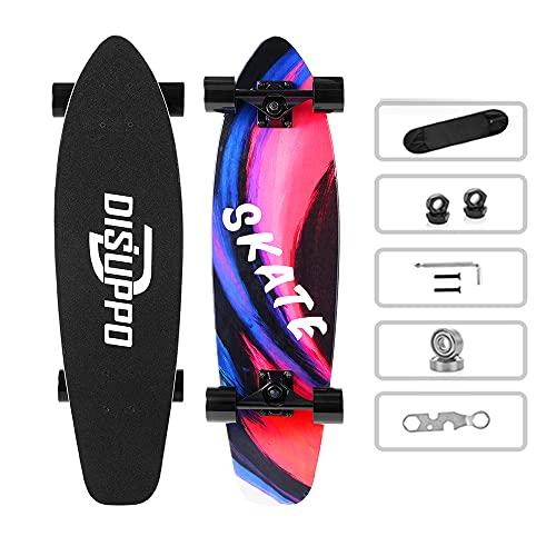 DISUPPO Cruiser Skateboard, 79 x 21 cm, Patinetas para Adultos, Niñas, Niños, Principiantes, Tabla d