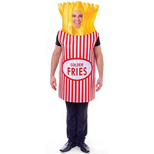 Bristol Novelty- Costume di Patatine Fritte francesi, Colore Rosso/Bianco/Giallo, Taglia Unica, AC555