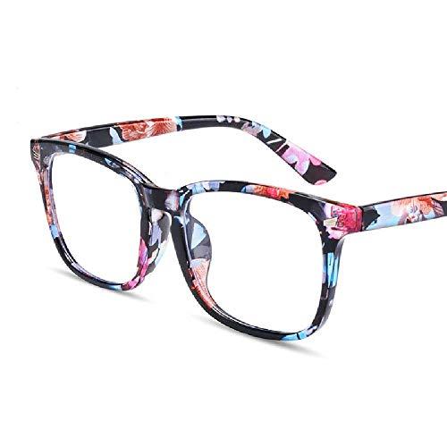 N\C Gafas Anti-BLU-Ray Lente Plana Cuadrada Lente Completa Gafas C5 / Marco de Flores empaquetadas Anti-luz Azul