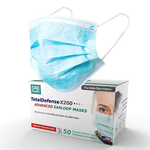 Dre Health 3 Ply Disposable Face Masks, 50 Count - Made in The USA - Ear Loop Face Shields - Helps Filter Dust, Pollen, Germs - Latex Free, Glass Free Filter, Non Woven