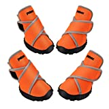 Petacc Dog Boots Waterproof Dog Shoes for Large Dogs Pet Boots Outdoor Shoes with Adjustable Reflective Velcro Rugged Anti-Slip Sole, 4Pcs (M, Orange)