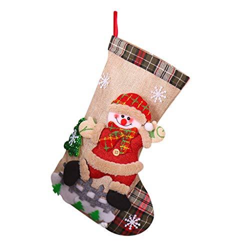 carol -1 Nikolausstrumpf Weihnachtsstrumpf Deko Kamin Christmas Stocking Nikolausstiefel zum Befüllen und Aufhängen Groß Ideale Weihnachtsdekoration Weihnachtssocke Socken für Kamin Candy