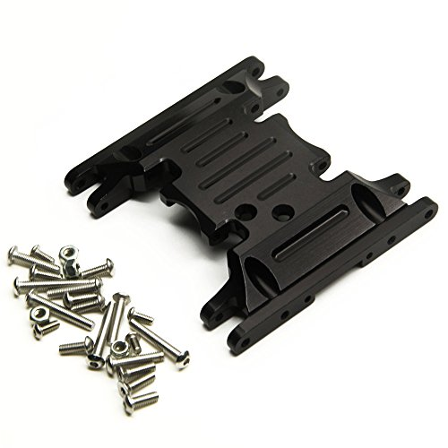 ZuoLan Alliage d'aluminium Center Skid Transmission Plate for 1/10 Crawlers Car Axial SCX10 II 90046 (Noir)