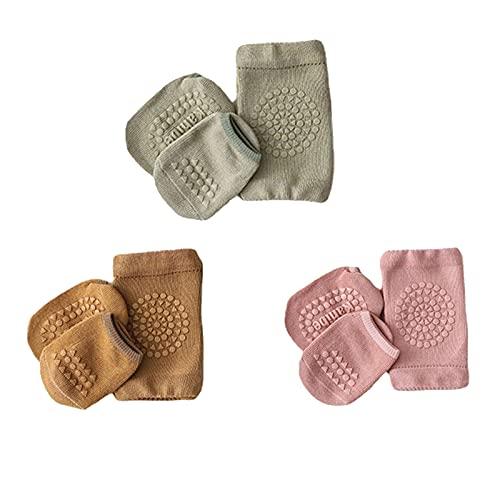 Sendley 3 pares de rodilleras para bebé y 3 pares de calcetines con puntos de goma, antideslizantes, para gatear, ayuda a gatear, rodilleras de 1 a 3 años, Rosa, marrón, verde, Talla única