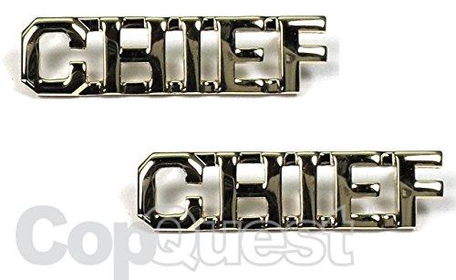 Collar Insignia - 3/8-inch high - Pair - Chief - Nickel