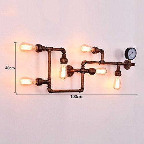 Retro Industrial Vent Aisle Restaurant Bar Fer Eau Tubes Applique (couleur : Bronze)