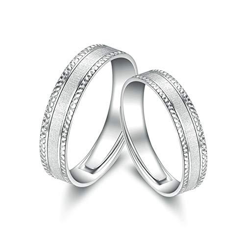 Aeici 950 Platin Schmuck 950 Verlobungsringe für Männer Frauen Oberfläche Schrubben Silber Frauen 56 (17.8) & Herren 66 (21.0)