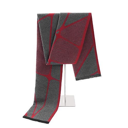 LCSD bufandas Modelo gris-roja del otoño y del invierno de Corea de los hombres de la bufanda de la cachemira imitación del color mezclado Jacquard japonesa salvaje Estudiante regalo caliente de la bu