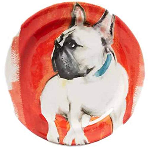 Sally Muir Anthropologie Dog-a-Day Stoneware Dessert Plate - Frenchie Red Combo Orange