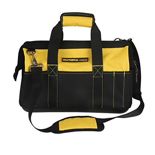 Olympia Tools 16 Inch Wide Mouth Tool Bag, Molded Waterproof Base with 21 Pockets and 7 Belt Loops, Padded Handle, Adjustable Shoulder Strap