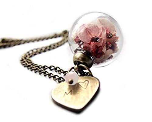 Ladyville Echte Blüten Kette - Ginster mit Herz und Buchstaben geprägt/Personalisiertes Geschenk/Geburtstagsgeschenk