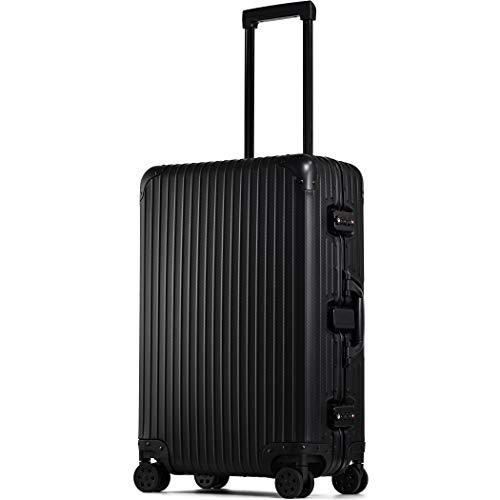 【PROEVO】 スーツケース アルミマグネシウム合金 アルミニウムボディ キャリーバッグ キャリーケース 8輪 ストッパー 予備キャスター4本付属 (【Mサイズ】ブラック/カーボン)