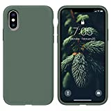 OUXUL Case for iPhone X/iPhone Xs case Liquid Silicone Gel Rubber Phone Case,iPhone X/iPhone Xs 5.8 Inch Full Body Slim Soft Microfiber Lining Protective Case (Forest Green)